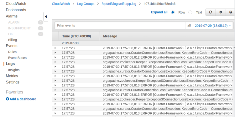 Monitoring Apache NiFi's Log with AWS CloudWatch