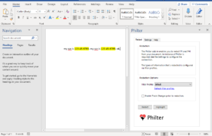 Philter Add-In for Microsoft Word brings PII and PHI redaction to Microsoft Word documents.