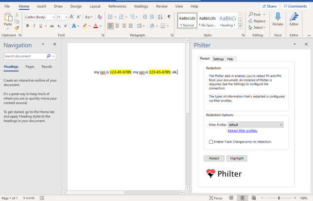 The Philter Add-In for Microsoft Word enables document redaction from directly inside your documents.